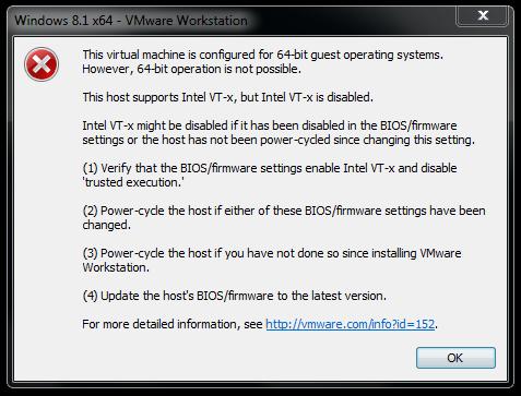 """VMware  """"Intel VT-x"""" Hatası ve Çözümü"""