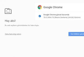 """Google Chrome 78 Update """"Hay Aksi """" Hatası"""