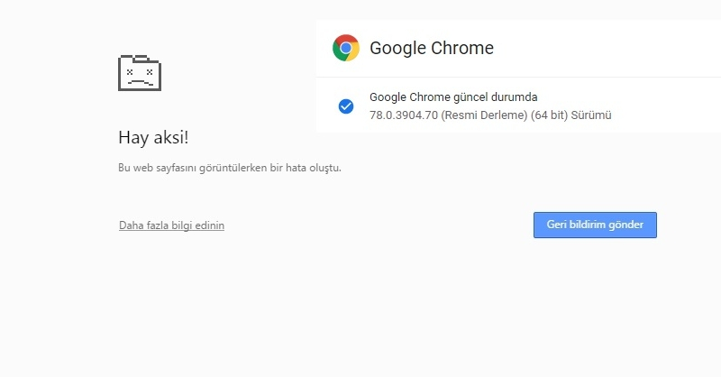 "Google Chrome 78 Update ""Hay Aksi "" Hatası"